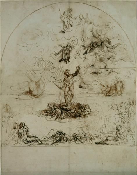 1590 Neptune dispersing the clouds and calming the tides - Agostino Carracci