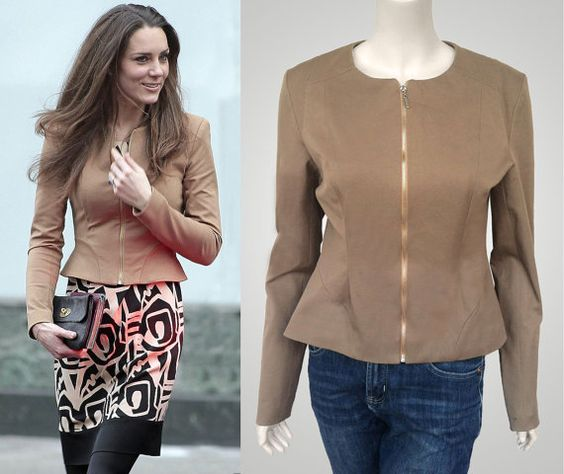 Camel brown peplum jacket with exposed zipper inspired by Kate and ...