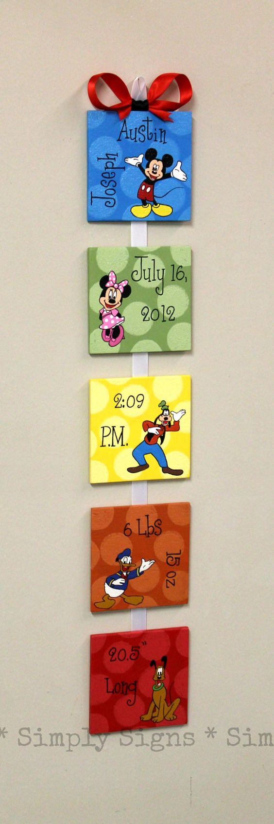 Mickey and Friends custom birth announcement for baby nursery or child's bedroom Mickey Mouse Clubhouse
