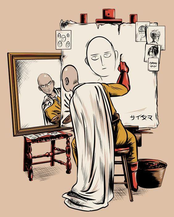 ワンパンマン自画像を描く壁紙