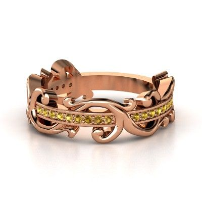 14K Rose Gold Ring Citrines