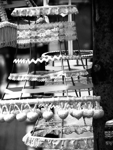 Lampshades outside Cracker Jax in DeKalb