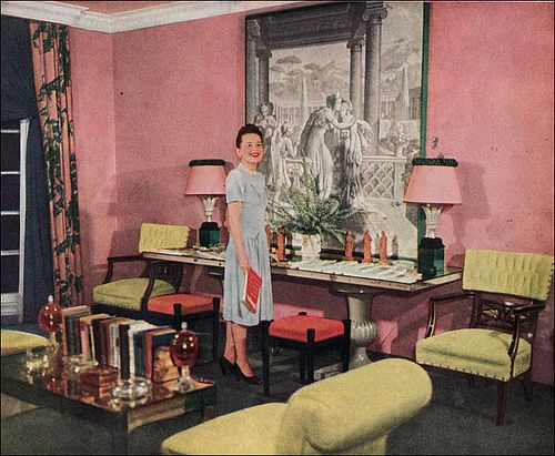 1947 olivia de haviland 39 s living room by american vintage home via flickr my dream interiors. Black Bedroom Furniture Sets. Home Design Ideas