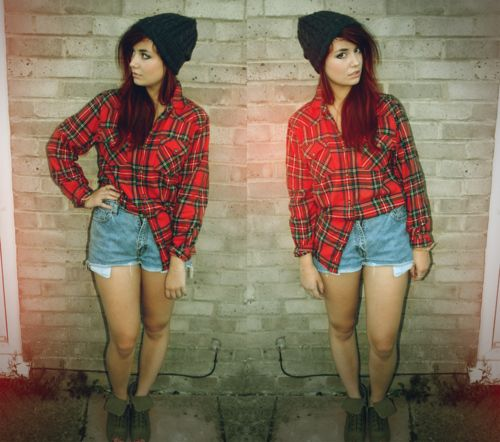 Black beanie and red plaid. #style #fashion
