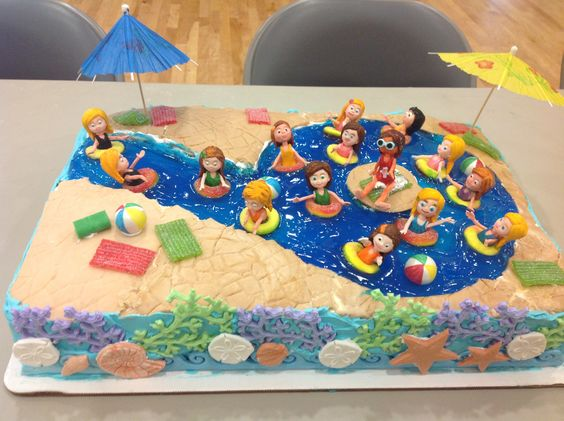 Isabella 39 S Ninth Birthday Swimming Pool Cake Cakes Pinterest Swimming Pool Cakes Pools