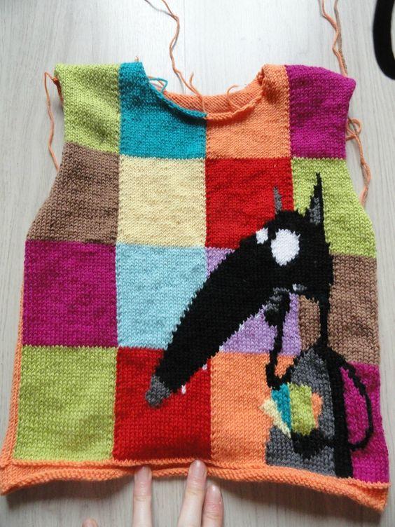 Pull du loup qui voulait changer de couleur tricot pinterest - Changer de couleur tricot ...