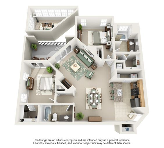 Home Design 3d Second Floor: 3d Floor Plan Apartment - Google Search
