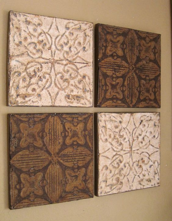 ALL 4 Antique Ceiling Tin Tiles Circa 1900  Rust by DriveInService, $100.00