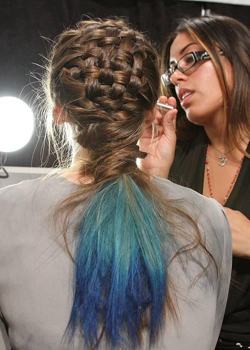 Nice! A basket weave braid and blue ombre tips.