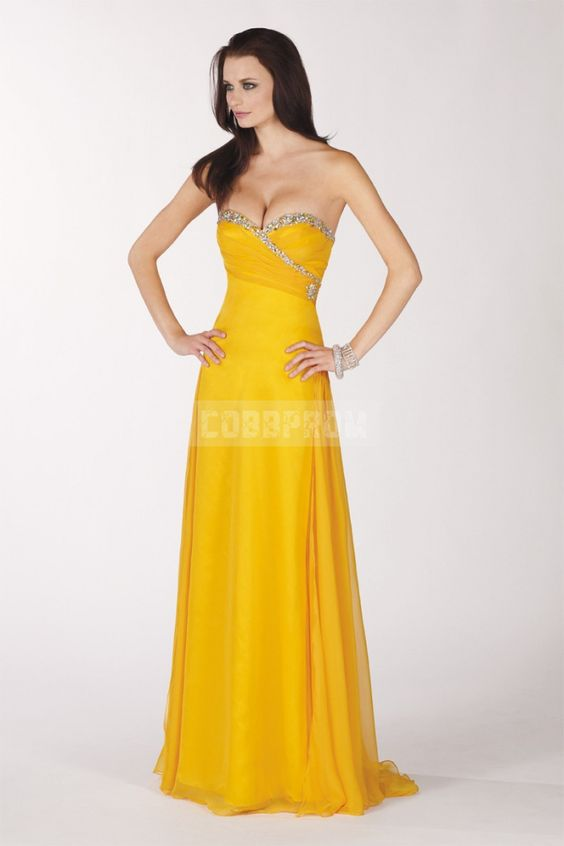 Chiffon Sweetheart A-line Crystals Yellow Prom Dress