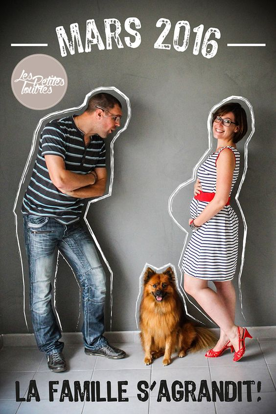 annonce originale de grossesse en photo avec toute la famille m me le chien annonce de. Black Bedroom Furniture Sets. Home Design Ideas