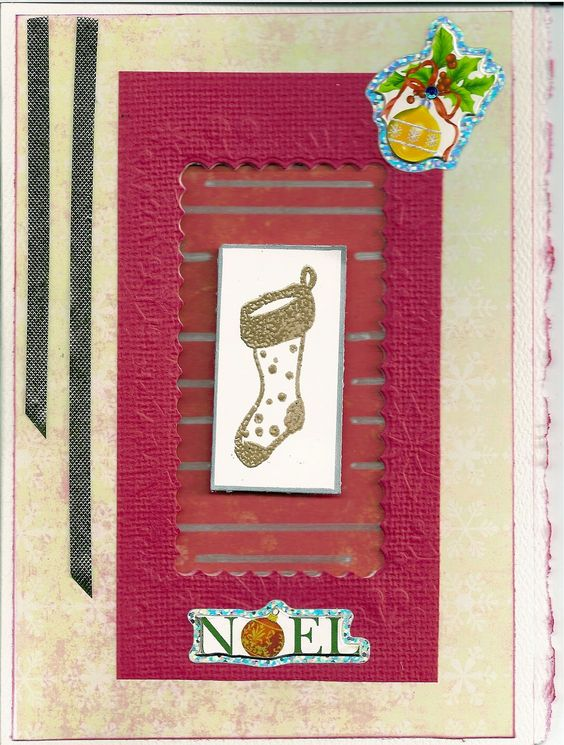 This one is kind of a shadow box using a stamp and embossing powder