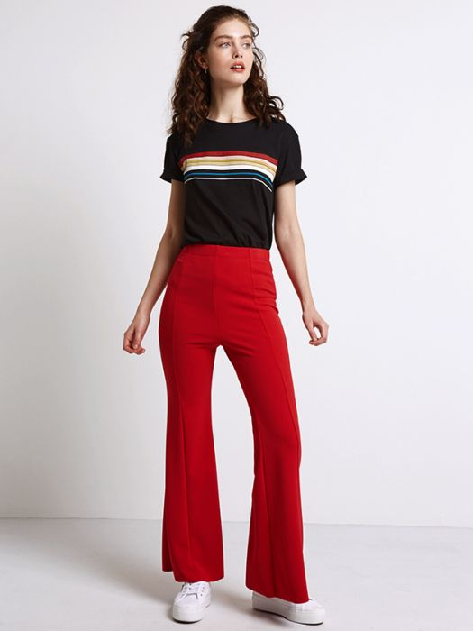 Red Seam Detail Flare Trouser