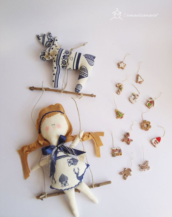 Lisbet - Christmas hanging mobile  Doll with reindeer - Handmade in Italy -.