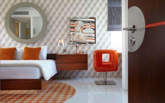 schlafzimmer retro modern orange grau holz möbel wand deko - schlafzimmer orange
