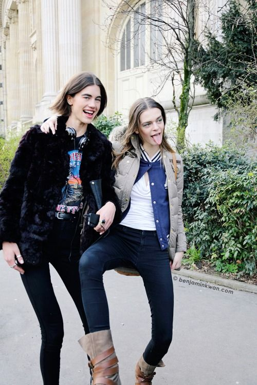 Georgia Graham and Brogan Loftus at Chanel FW 2014 Paris Snapped by Benjamin KwanParis Fashion Week FW 2014