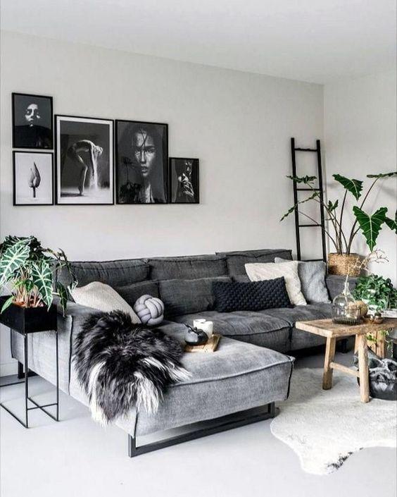 zwart, grijs en hout combineren in je woonkamer