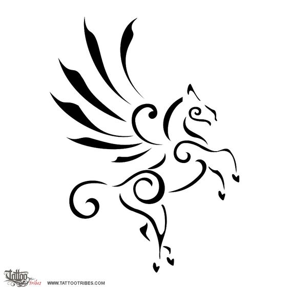 Stylized Pegasus    In Greek mythology, horses are recurrent symbols of loyalty and courage. In order to understand the symbolism of Pegasus, we shall look at the way he was born: Medusa, a magnificent woman, was condamned by Atena to petrify everyone who looked at her, and once she got killed this pure winged horse raised from her spilled blood, and flew into the sky as if representing getting free from the curse, and going back to glory.    Also, from a spring formed where he once[...]