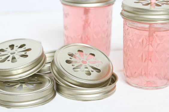 15 Gold Pewter Daisy Cut Mason Jar Lids for by FancyThatLoved:
