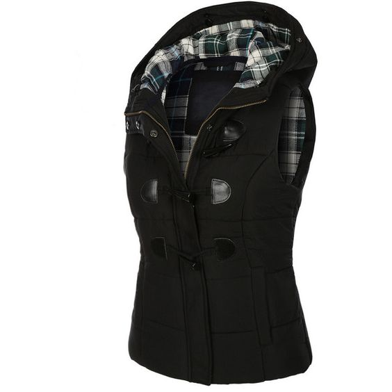 LE3NO Womens Classic Toggle Padded Puffer Jacket Vest with Faux Fur... ($34) ❤ liked on Polyvore featuring outerwear, vests, puffy vest, puffy vest jacket, tartan waistcoat, hooded puffer jacket and plaid vest