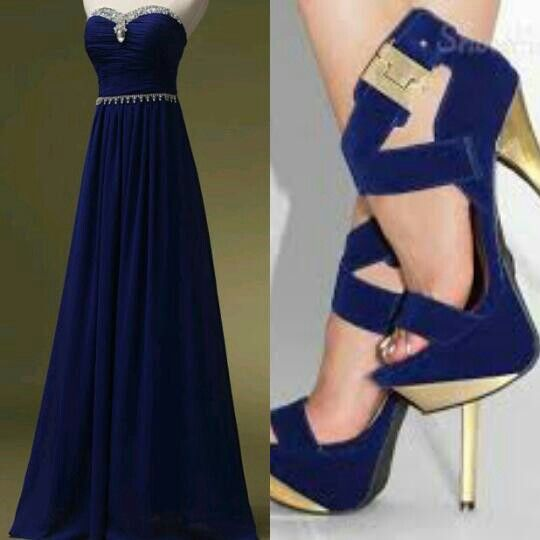 Midnight blue dress with midnight blue and gold strapped high