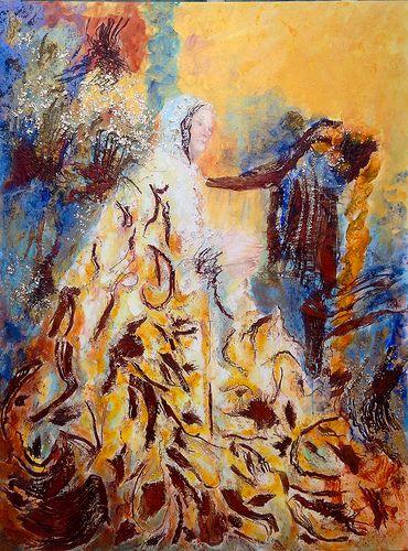 Virgen con arpa. Mixta s/t.marino. 120 x 90 cm.2013 #artecontemporaneo  #Misteri #Elche #grafiaseàss #Art #Painting #ContemporaryArt #antoniasoler #trees #palmtree http://antoniasoler.com/es/blog