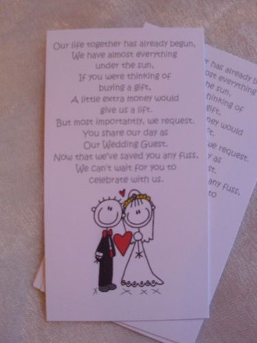 Wedding Gift Wording For Honeymoon: Details About Mini Poems For Wedding Invitations Asking