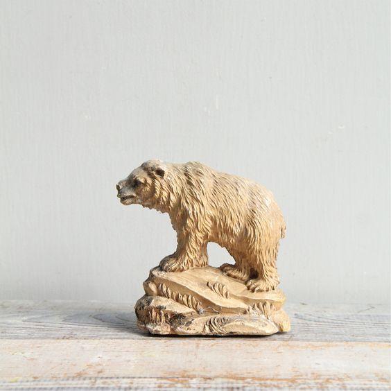 Vintage Polar Bear Bust / Bookend, via Etsy.