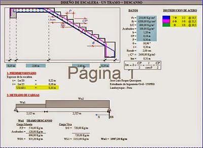 Dise o de acero de escaleras de un tramo con descanso for Planos de escaleras de concreto armado