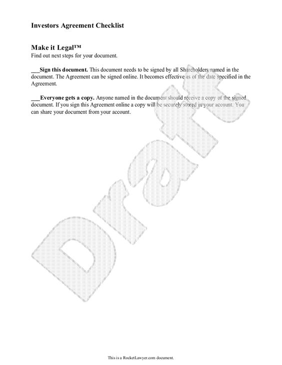 Investors Agreement Investor Contract Agreement Form With – Investors Agreement Template