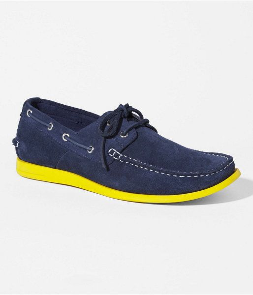 Express Mens Suede Boat Shoe With Contrast Sole Ink Blue, 10