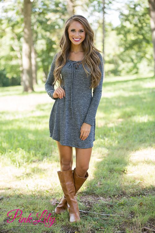 This beautiful dress will have you all tied up with happiness! It's simply adorable! We are in love with the beautifully soft heathered grey material - it's easy to wear all day long!