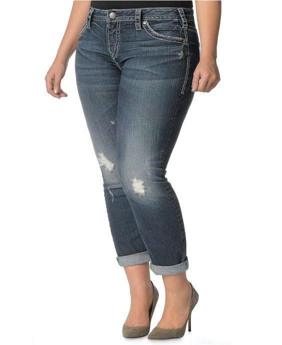 Silver Jeans Plus Size Jeans Lola Skinny Boyfriend Indigo Wash