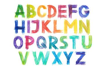 Colored Pencils Alphabet Font Type Handwritten Hand Draw Abc Letters Fonts Alphabet How To Draw Hands Colored Pencils