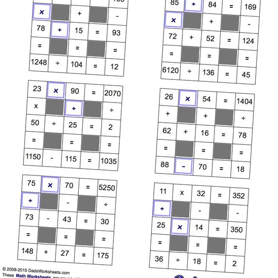 math worksheet : math worksheets all operations grid puzzles with missing values  : Math Puzzles Worksheet