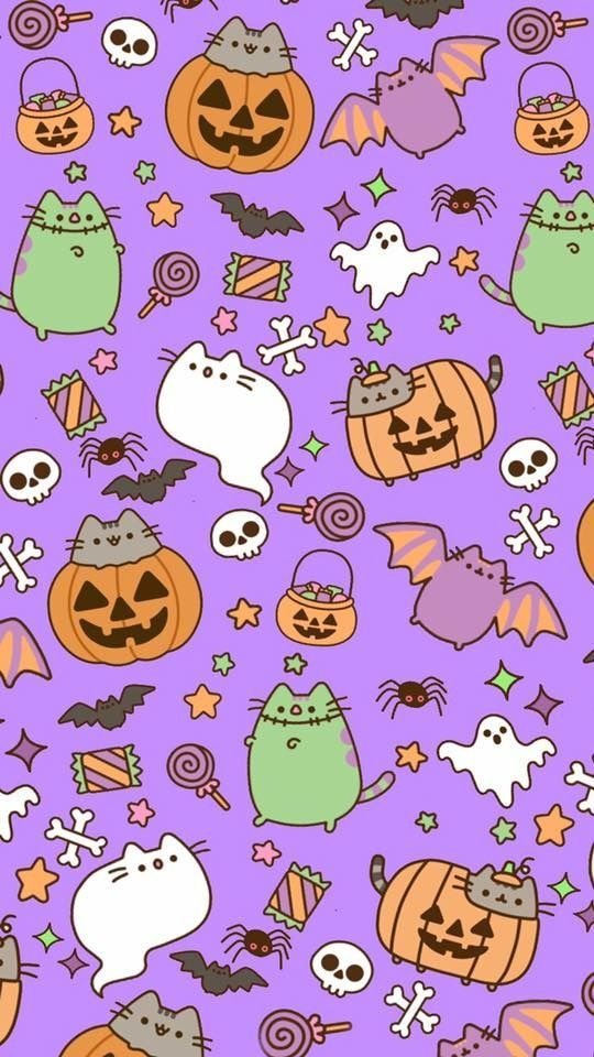 Image Shared By Alexandralupan Find Images And Videos About Wallpaper Autumn And Pusheen Cat On We Halloween Wallpaper Iphone Pusheen Cat Halloween Wallpaper