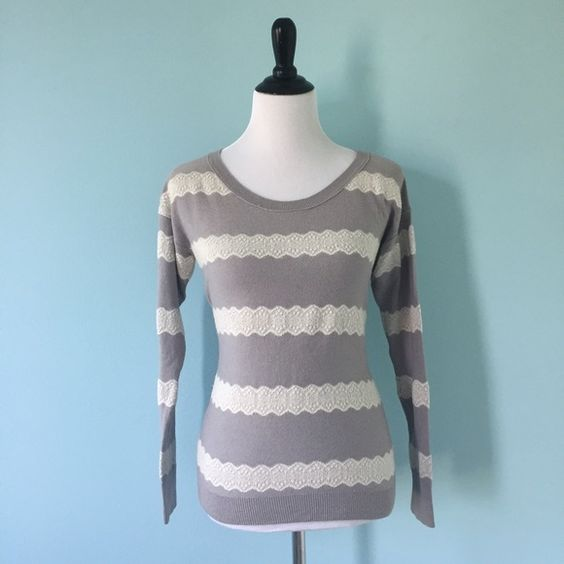 AEO Lace Jumper American Eagle grey sweater with white lace stripes, very comfortable and warm American Eagle Outfitters Sweaters Crew & Scoop Necks