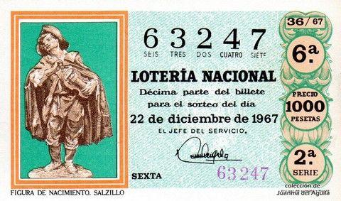 Décimo Del Sorteo Extraordinario De Lotería De Navidad Celebrado El 22 De Diciembre De 1967 Coleccionismo Loteria Co Lotería Nacional Lotería Figuras De