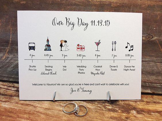 Wedding Timeline Invitations: This Is The UNIQUE Timeline Card With Colorful Clip Art