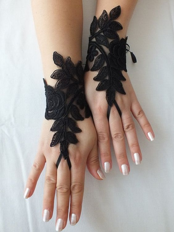Black Wedding gloves french lace gloves bridal  gloves by geranum, $30.00