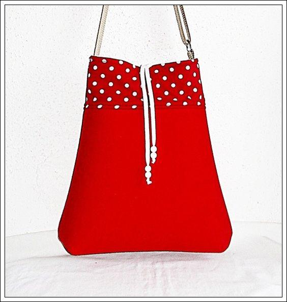 Wollfilz-Shopper rot gepunktet - StoffAkzente Taschen und Accessoires