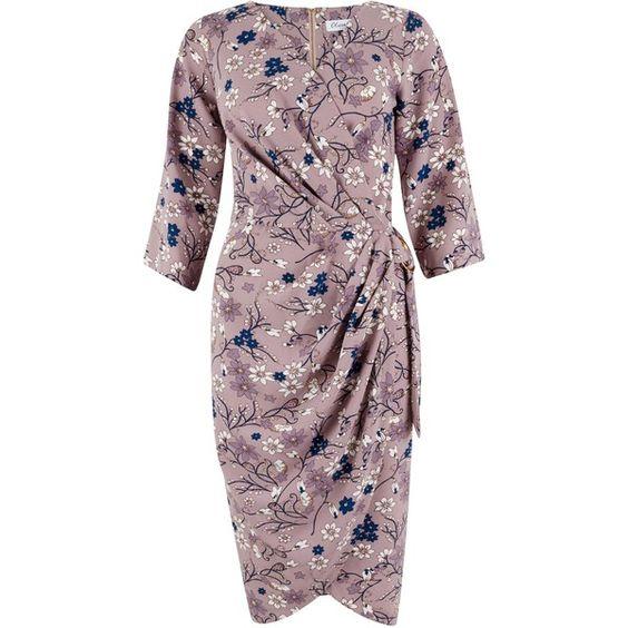 Closet Tulip Print Drape Skirt Dress, Multi ($40) ❤ liked on Polyvore featuring dresses, wrap dress, draped maxi dress, v neck dress, midi dress and sleeved maxi dress