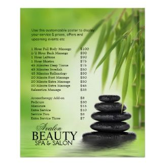 massage price list template spa massage pricelist poster with stacked stones bamboo