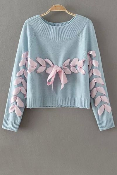 Jersey de punto customizado con lazo. Jewel Neck Long Sleeve Ribbon Sweater: