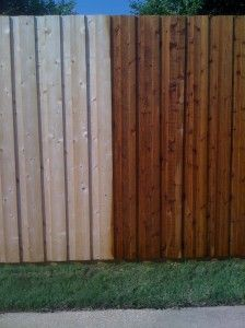 before and after stained cedar fence - Google Search