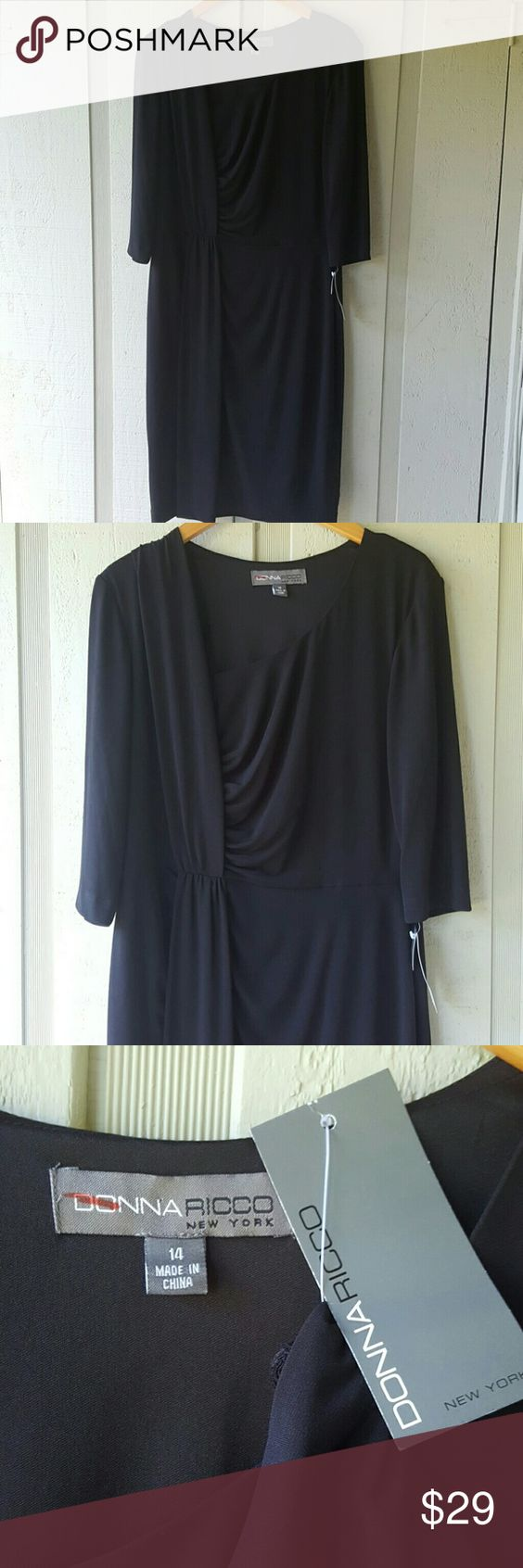 NWT Donna Ricco New York dress NWT, Black, size 14 Donna Ricco Dresses Midi