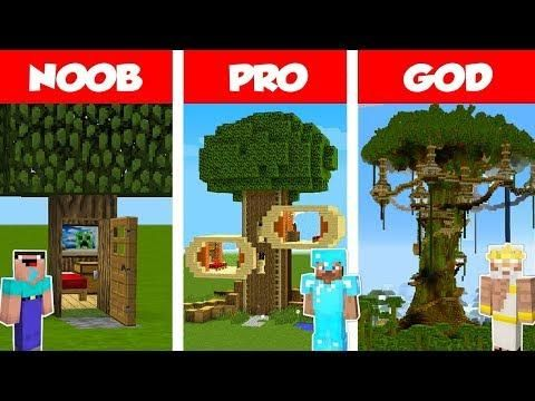 Minecraft Noob Vs Pro Vs God Tree House Challenge In Minecraft Animation Noob Minecraft Minecraft Houses