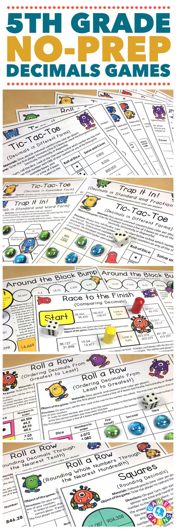 """""""My students loved these activities! Great way to practice and reinforce decimal skills!"""" Decimals Games for 5th Grade contains 13 fun and engaging printable board games to help students to practice reading, comparing, ordering, and rounding decimals standards. These games are so simple to use and require very minimal prep. They are perfect to use in math centers or as extension activities when students complete their work!"""