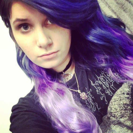 My violet to lavender ombre hair color