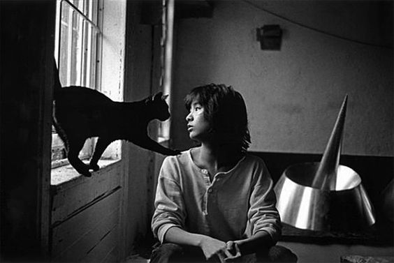 Maya Lin with a cat